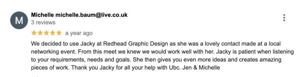 Michelle_Baum_ Client Review-Redhead_Graphic_Design